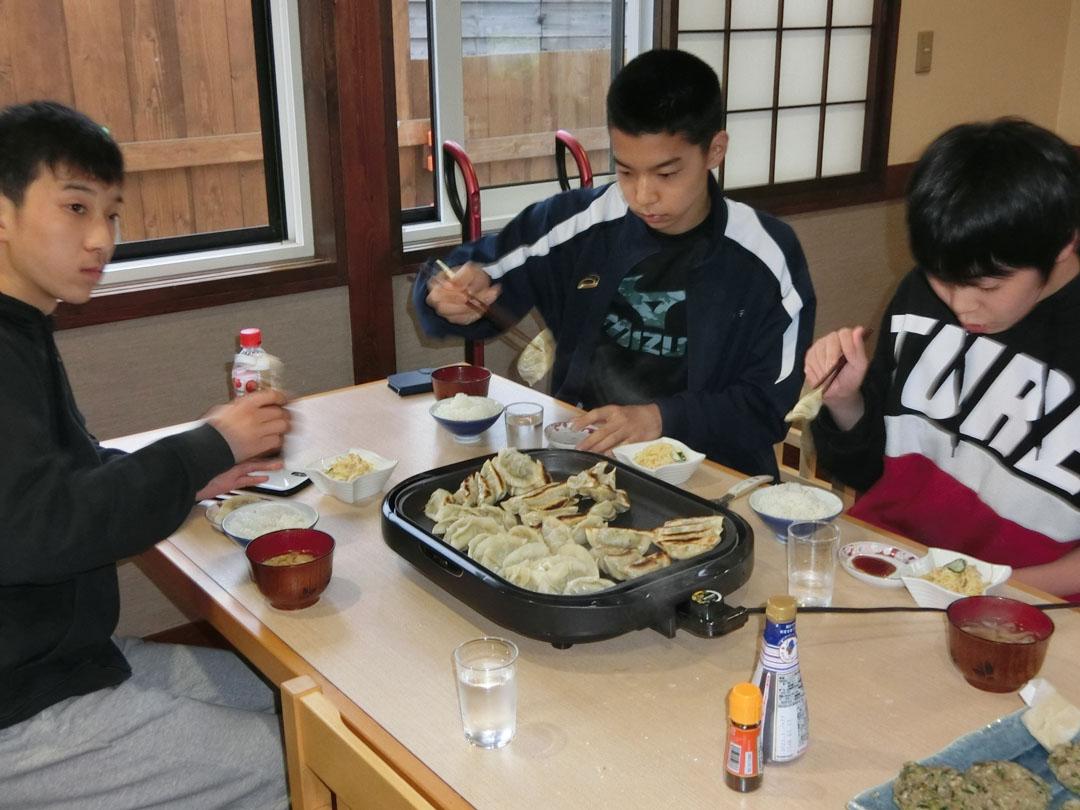餃子を焼く学生